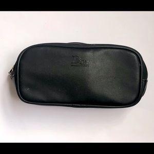Dior Beauté small black leather makeup/travel bag